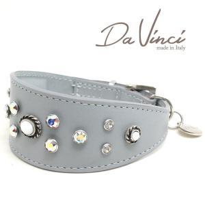 SALE/返品交換不可・Da Vinci カラー Vittoria:グレー DV1.7.35G 小型犬用首輪・首周り実寸:約25〜29cm イタリア製 dv91355 nachu