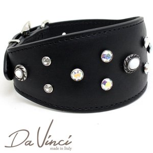 SALE/返品交換不可・Da Vinci カラー Vittoria:黒 DV1.7.40B 中型犬用首輪・首周り実寸:約25〜33cm イタリア製 dv91386 nachu
