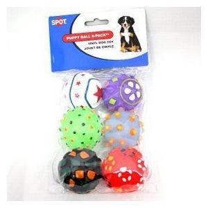 小さなボール6個入り。音が鳴ります。パピーボール 6P 犬用おもちゃ nachu