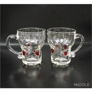 宙吹きガラス スイートベリー ペアマグカップセット|nacole