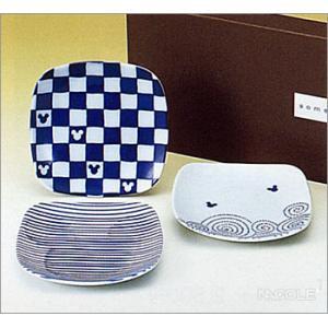 Disney(ディズニー)ミッキー・染付シリーズ 角小皿揃|nacole