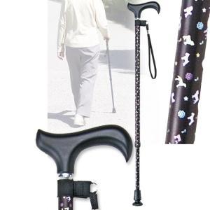 犬柄ステッキ 伸縮 ブラック 杖 つえ 軽量(介護用品 敬老の日ギフト おすすめ)|nacole