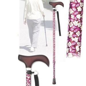 伸縮ステッキ 黒花柄 杖 つえ 軽量(介護用品 敬老の日ギフト おすすめ)|nacole