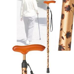 スリムネックステッキ 伸縮 ブラウンリーフ 杖 つえ 軽量(介護用品 敬老の日ギフト おすすめ)|nacole