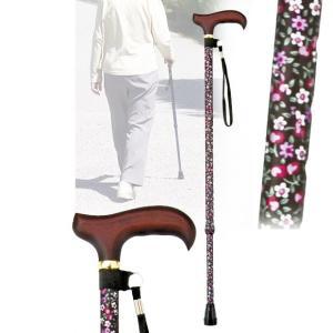 伸縮ステッキ 黒小花 杖 つえ 軽量(介護用品 敬老の日ギフト おすすめ)|nacole