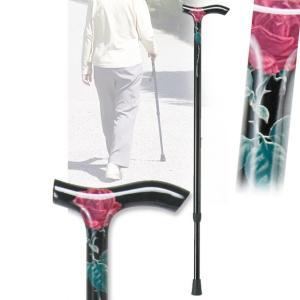 伸縮カーボンステッキ ローズ 杖 つえ 軽量(介護用品 敬老の日ギフト おすすめ)|nacole