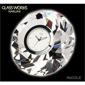 グラスワークスナルミ 置時計 ダイヤモンド クロックM 結婚祝い 出産内祝い 新築祝い お返し|nacole