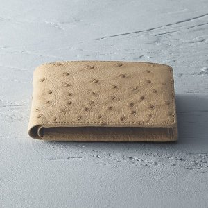 ギフト 紳士用オーストリッチ財布 ベージュ 日本製 結婚内祝い 出産内祝い 贈答品 贈り物 お返し nacole