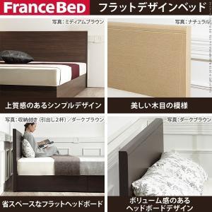 フランスベッド ダブル フラットヘッドボードベッド グリフィン 収納なし ダブル ベッドフレームのみ フレーム|nacole|02