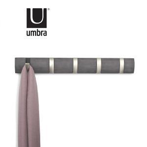 納期12月中旬Umbra アンブラ フリップフック 5HOOK5連タイプの木製ハンガーフック FLIP HOOK おしゃれ ハンガー ドリフトウッド(ダークグレー)の画像