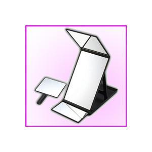 卓上縦型三面鏡ヘアカラーミラー YHC-5000(ブラック) 360度ヘアメイク・アイメイクチェック|nadeshico