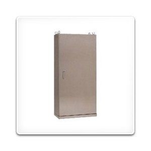 SE35-1416 日東工業 ステンレス自立制御盤キャビネット(水切、防塵・防水パッキン付)[鉄製基板付](1400×1600×350、片扉)|nagamono-taroto