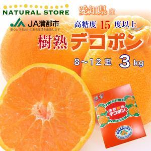 デコポン 約3キロ 愛知県 蒲郡産 最上級品 葉付き デコポ...