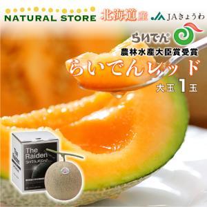 らいでんレッドメロン 赤肉 1玉化粧箱 約1.5キロ 北海道共和町産 美味しい赤肉メロン nagashimastore7