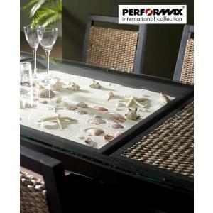 ウォーターヒヤシンス ダイニングテーブル 食卓 アジアン テーブル PERFORMAX 強化ガラス天板  在庫販売品の写真