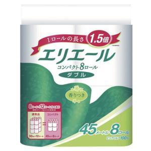 トイレットペーパー まとめ買い 大王製紙 エリエール コンパクトダブル 香り付き ダブル45m 8Rx8P|nagomishop
