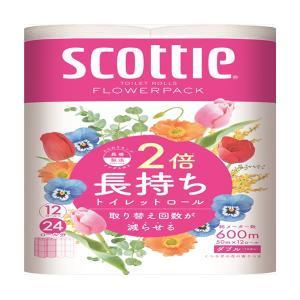 トイレットペーパー まとめ買い 日本製紙クレシア スコッティフラワーパック2倍巻き ダブル50m 12Rx4P|nagomishop