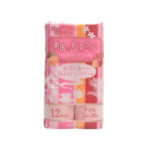 トイレットペーパー まとめ買い 日清紡ペーパー 南国の紅茶タイム(ピンク) トロピカルフルーツティーの香り ダブル30m 12Rx8P|nagomishop