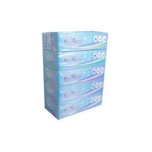 箱ティッシュ 流せるティッシュ まとめ買い エルモア 水に流せるティシューペーパー180W 5箱X10P|nagomishop