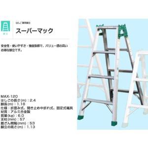 はしご兼用脚立 ナカオNAKAO スーパーマックMAX-120 脚長1.18m はしご全長2.40m 重量6.0kg|nagomishop