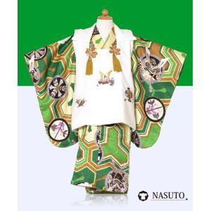 キッズ着物 緑色 3歳着物 男の子七五三 三歳レンタル 753 子供 被布フルセット 着物緑被布白色兜刺繍文様 ブランド nasuto...