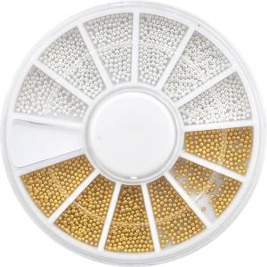 【メール便OK】ジェルネイルの埋め込みに♪ブリオン1mmゴールド&シルバーセット(お試し少量パック)|nailkoubouu