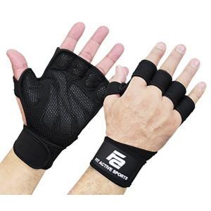Fit Active Sports ウェイトリフティング グローブ リストラップ付き 筋トレ クロス...