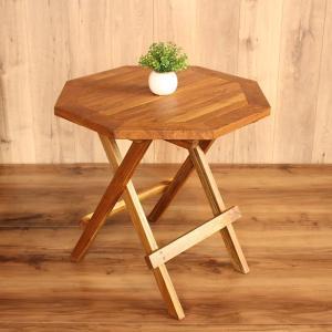 折りたたみテーブル カフェテーブル チークウッド フォールディングテーブル 無垢 木製 天然木 シン...