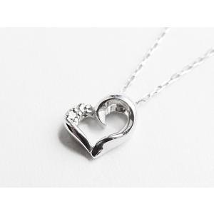 K10WG (10金 ホワイトゴールド) ハートダイヤモンドネックレス nakamura-jwo