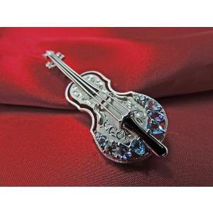 K14ホワイトゴールドブローチ バイオリンモチーフ  nakamura-jwo