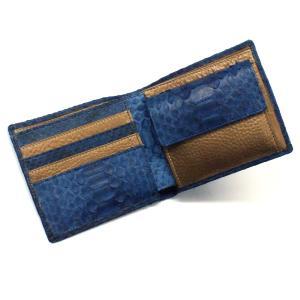 財布 二つ折り財布 折り財布 革財布 サイフ さいふ 札入れ パイソン革 蛇革 牛革 小銭入れあり カード収納 本革財布 日本製 藍染|nakamura312
