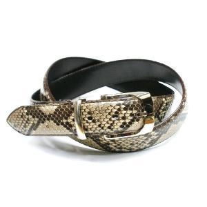 ベルト レザーベルト メンズベルト 蛇革 3.5cm幅 パイソン 栃木レザー 牛革 ヘビ革 日本製 ナチュラル|nakamura312