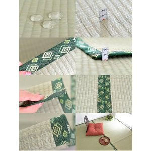 カーペット 8畳 夏 い草 ラグ 和風 アジアン 正方形 カーペット 緑 ラグマット 奥川|nakane|05