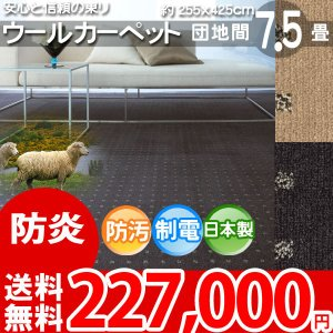 カーペット 団地間 七畳半 7.5畳 ウールカーペット ラグ 7.5帖 絨毯 東リ エト8500 nakane