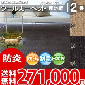 カーペット 団地間 十二畳 12畳 ウールカーペット ラグ 12帖 絨毯 東リ エト8500 nakane