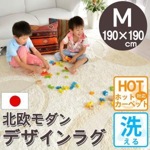 夏用 ラグ 洗える カーペット 2畳 おしゃれ 安い アイボリー 190×190 ビジャウ|nakane
