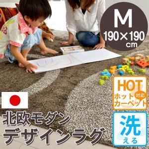 ラグ 洗える カーペット 2畳 モロッコ 北欧 ラグマット 赤ちゃん 190×190 ブラウン ビジャウ|nakane