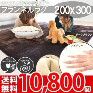フランネルラグ 4畳 カーペット 洗える 無地 秋冬用 長方形 ラグマット 子供部屋 200×300 フライズ|nakane