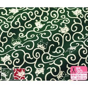 猫イラストと唐草模様 シーチング 緑と赤のから草シーチング 生地 布 2000-77|nakanotetsu