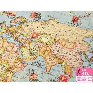 世界地図 アンティーク調 B&B FABRICS 広幅 約140cm巾 USAコットン 生地 布 34279|nakanotetsu