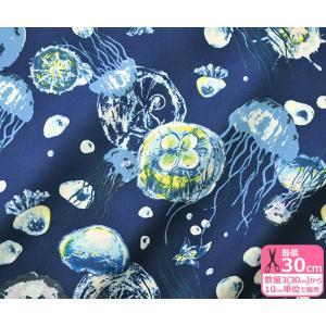 YUWA クラゲとクリオネ シャーティング くらげ 海 深海 有輪商店 生地 布 824482|nakanotetsu