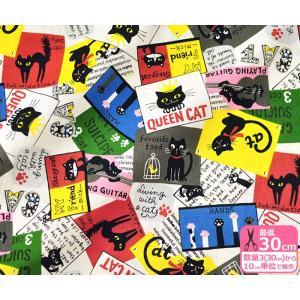 黒猫とポストカード シーチング いろいろな様子のネコのカード柄 生地 布 850250-3|nakanotetsu