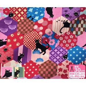 和柄パッチと黒猫 シーチング 和調のパッチワーク柄と黒猫のモダンな柄 生地 布 AP85412-2|nakanotetsu