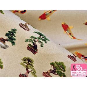 盆栽と錦鯉 柄違い B&B FABRICS 広幅 約140cm巾 USAコットン 生地 布 BB1100-18B|nakanotetsu
