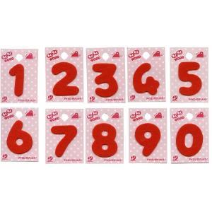 仮止めシール付数字ワッペン 0〜9わくわくWORD赤と紺|nakanotetsu