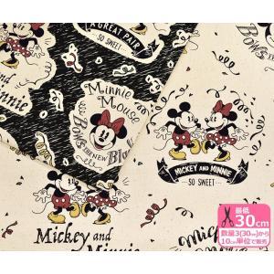 Disney ミッキー&ミニー タイポグラフィ柄11号ハンプ ヴィンテージ風 生地 布 G-7359|nakanotetsu