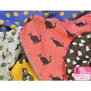 コットンジャガード 柄違い ネコ クマ オバケ 柑橘 サボテン 約115cm巾 コットン100% ジャガード織り 生地 布 KFJ01|nakanotetsu