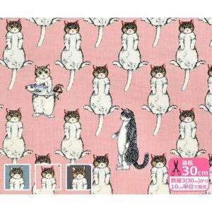 ずらりと並んだ猫柄キャンバス 生地 布 KTS-6342|nakanotetsu