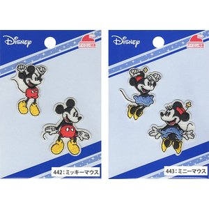 ディズニー ミッキーマウス ミニーマウス ワッペン2種類 2枚入りアイロン接着 Disney MY5503-MY442 MY443|nakanotetsu