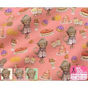 Ringo Sweets cat.CoCo CoCoちゃん オックス お洋服を着た猫ちゃんとスイーツ 生地 布 RINF-04|nakanotetsu